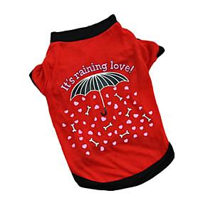 tanie Zwierzęta domowe, Zabawki i hobby-Psy T-shirt Ubrania dla psów Litery i cyfry Czerwony Różowy Bawełna Kostium Na Wiosna i jesień Lato Męskie Damskie Codzienne