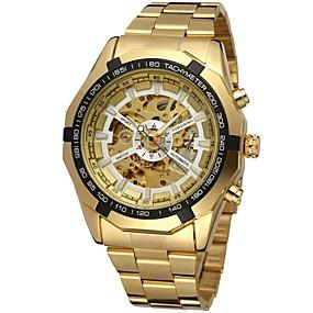 voordelige Merk Horloge-FORSINING Heren Skeleton horloge Polshorloge mechanische horloges Automatisch opwindmechanisme Roestvrij staal Goud Hol Gegraveerd Analoog Luxe Modieus - Goud Wit Zwart