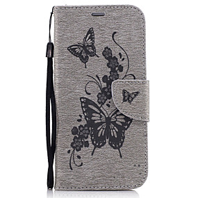 voordelige Galaxy A3(2016) Hoesjes / covers-hoesje Voor Samsung Galaxy A3 (2017) / A5 (2017) / A5(2016) Portemonnee / Kaarthouder / met standaard Volledig hoesje Vlinder Hard PU-nahka