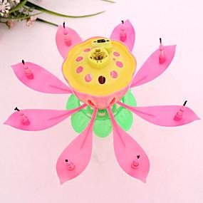 baratos Casa & Cozinha-musical lótus flores velas feliz aniversario vela para festa presente luzes decoração