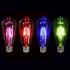Χαμηλού Κόστους Λαμπτήρες LED με νήμα πυράκτωσης-1pc 4 W LED Λάμπες Πυράκτωσης 360 lm E26 / E27 ST64 4 LED χάντρες COB Διακοσμητικό Κόκκινο Μπλε Πράσινο 220-240 V / 1 τμχ / RoHs