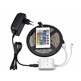 ieftine Benzi Lumină LED-rgb led strip 5050 smd 300leds 5m led led șir 24 chei IR controler de la distanță dc 12v 3a adaptor putere