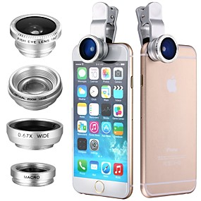 billige Smartphone-fotografering-Klip 4in1 180 fisk øjen vidvinkel mikro teleobjektiv til itouch ipad iphone samsung htc