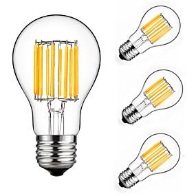 Χαμηλού Κόστους Λαμπτήρες LED με νήμα πυράκτωσης-4pcs 10 W 900 lm E26 / E27 LED Λάμπες Πυράκτωσης A60(A19) 10 LED χάντρες COB Διακοσμητικό Θερμό Λευκό / Ψυχρό Λευκό 220-240 V / 4 τμχ / RoHs