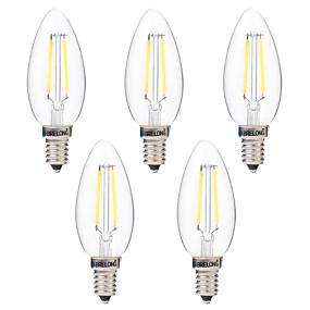 رخيصةأون مصابيح خيط ليد-BRELONG® 5pcs 2 W مصابيحLED 200 lm E14 C35 2 الخرز LED COB تخفيت أبيض دافئ أبيض 220-240 V / 5 قطع