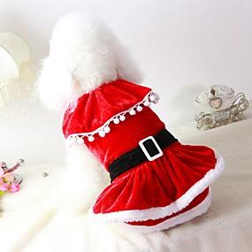 Χαμηλού Κόστους Χριστουγεννιάτικα κοστούμια για κατοικ-Γάτα Σκύλος Στολές Παλτά Φορέματα Ρούχα για σκύλους Μονόχρωμο Κόκκινο Χνουδωτό Ύφασμα Βαμβάκι / Μείγμα Λινού Στολές Για Άνοιξη & Χειμώνας Χειμώνας Πάρτι Στολές Ηρώων Καθημερινά