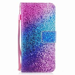 voordelige Galaxy S7 Hoesjes / covers-hoesje Voor Samsung Galaxy S8 Plus / S8 / S7 edge Portemonnee / Kaarthouder / Flip Volledig hoesje Glitterglans / Kleurgradatie Hard PU-nahka