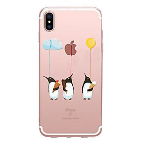 olcso iPhone tokok-Case Kompatibilitás Apple iPhone X / iPhone 8 Átlátszó / Minta Fekete tok Apple logo / Állat Puha TPU mert iPhone X / iPhone 8 Plus / iPhone 8