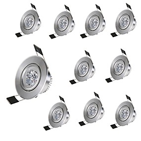 ieftine Becuri LED Încastrate-10pcs 3 W 300 lm 3 LED-uri de margele Ușor de Instalat Încastrat Lumini Recessed Alb Cald Alb Rece 85-265 V Acasă / Birou Cameră Copii Living / Dinning / RoHs / CE