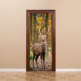 cheap Decoration Stickers-DIY 3D Forest Deer Wall Stickers DIY Mural Bedroom Home Decor Poster PVC Waterproof Animals Deer Door Sticker Decal for Kids Room 77x200cm