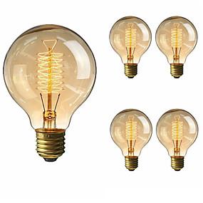 billige Glødelamper-5pcs 40 W E26 / E27 G80 Varm hvid 2200-2700 k Kontor / Business / Dæmpbar / Dekorativ Glødende Vintage Edison lyspære 220-240 V