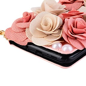 voordelige Galaxy S6 Edge Plus Hoesjes / covers-hoesje Voor Samsung Galaxy S8 Plus / S8 / S7 edge Portemonnee / Kaarthouder / met standaard Volledig hoesje Bloem Hard PU-nahka