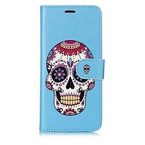 voordelige Galaxy S7 Edge Hoesjes / covers-hoesje Voor Samsung Galaxy S8 Plus / S8 / S7 edge Portemonnee / Kaarthouder / Flip Volledig hoesje Doodskoppen Hard PU-nahka