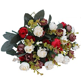 ieftine Casă & Grădină-Flori artificiale 2 ramură Pastoral Stil Trandafiri Față de masă flori