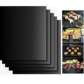 billiga Köksredskap och -apparater-2 st tjockt ptfe grillgrillmatta non-stick återanvändbar bbq grillmattor blad grillfolie bbq liner