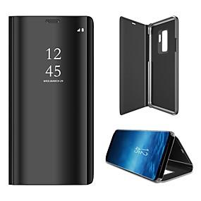 voordelige Galaxy S7 Hoesjes / covers-hoesje Voor Samsung Galaxy S9 / S9 Plus / S8 Plus Spiegel / Flip / Auto Slapen / Ontwaken Volledig hoesje Effen Hard Muovi