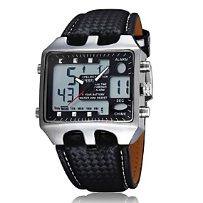 billige Kvinders digitale ure-Herre Dame Modeur Digital Watch Square Watch Japansk Quartz Ægte læder Sort 30 m Vandafvisende Analog-digital Afslappet - Sort Rød Blå Et år Batteri Levetid