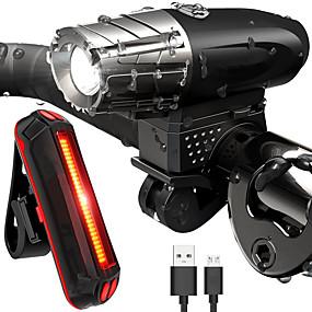 levne Svítilny-LED Světla na kolo Sada s dobíjecím světlem Přední světlo na kolo Zadní světlo na kolo LED Cyklistika Voděodolné Lehká váha Nabíjecí baterie 800 lm Nabíjecí baterie Bílá Cyklistika