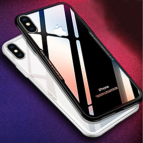 olcso iPhone tokok-Case Kompatibilitás Apple iPhone X / iPhone 8 Ütésálló / Tükör Fekete tok Egyszínű Kemény Szilikon mert iPhone X / iPhone 8 Plus / iPhone 8