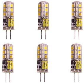 Недорогие Двухконтактные LED лампы-2w g4 светодиодная двухконтактная лампа 24 smd 2835 dc / ac 12v для потолочного освещения l home rv car warm / cold white (6 шт.)
