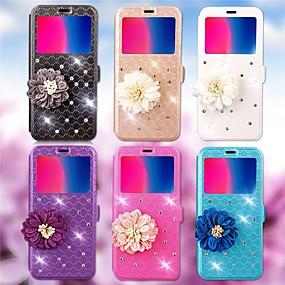 voordelige Galaxy S6 Edge Plus Hoesjes / covers-hoesje Voor Samsung Galaxy S8 Plus / S8 / S7 edge Kaarthouder / Strass / met standaard Volledig hoesje Geometrisch patroon Hard PU-nahka