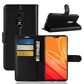cheap Oneplus 3T-Case For OnePlus OnePlus 6 / OnePlus 5T Wallet / Card Holder / Flip Full Body Cases Solid Colored Hard PU Leather for OnePlus 6 / One Plus 5 / OnePlus 5T