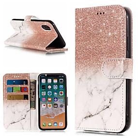 levne iPhone pouzdra-Carcasă Pro Apple iPhone X / iPhone 8 Plus Peněženka / Pouzdro na karty / se stojánkem Celý kryt Mramor Pevné PU kůže pro iPhone X / iPhone 8 Plus / iPhone 8