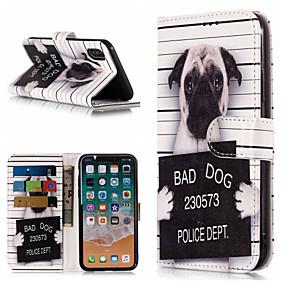 abordables Coques d'iPhone-Coque Pour Apple iPhone X / iPhone 8 Plus Portefeuille / Porte Carte / Avec Support Coque Intégrale Chien / Mot / Phrase Dur faux cuir pour iPhone X / iPhone 8 Plus / iPhone 8