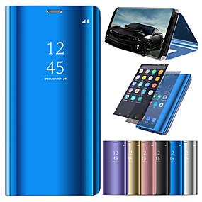 voordelige Galaxy J3(2017) Hoesjes / covers-hoesje Voor Samsung Galaxy J7 (2017) / J7 (2016) / J6 met standaard / Beplating / Spiegel Volledig hoesje Effen Hard PU-nahka