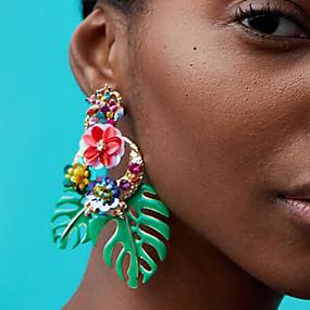 tanie Biżuteria kwiatowa-Damskie Kolczyki drop Kwiatowe / Roślinne Kształt listka Kwiat damska Europejskie Moda afrykanin Kolczyki Biżuteria Czerwony / Zielony / Jasnoróżowy Na Codzienny Biuro i kariera 1 para