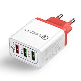billige Hurtigladere-Oplader til hjemmet / Lille og mobil oplader USB oplader EU Stik QC 3.0 3 USB-porte 4.8 A 100~240 V for Universel