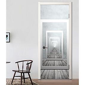 Недорогие Декоративные стикеры-Дверные наклейки - 3D наклейки Абстракция / Геометрия Гостиная / Спальня