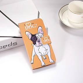voordelige Galaxy J3 Hoesjes / covers-hoesje Voor Samsung Galaxy J6 / J5 (2017) / J4 Portemonnee / met standaard / Flip Volledig hoesje Hond Hard TPU