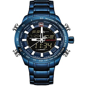voordelige Merk Horloge-NAVIFORCE Heren Sporthorloge Militair horloge Digitaal horloge Japans Japanse quartz Roestvrij staal Zwart / Blauw / Zilver 30 m Waterbestendig Alarm Kalender Analoog Digitaal Luxe Modieus - Wit