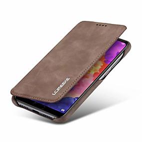billige CaseMe®-Etui Til Huawei P20 / P20 Pro / P20 lite Pung / Kortholder / Stødsikker Fuldt etui Ensfarvet Hårdt PU Læder for Huawei P20 / Huawei P20 Pro / Huawei P20 lite