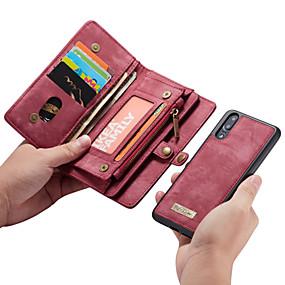 billige Mobiltelefonstilbehør-CaseMe Etui Til Huawei P20 Pro / P20 lite Pung / Kortholder / Flip Fuldt etui Ensfarvet Hårdt PU Læder for Huawei P20 / Huawei P20 Pro / Huawei P20 lite