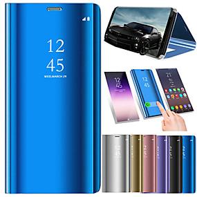 voordelige Galaxy J7 Hoesjes / covers-hoesje Voor Samsung Galaxy J8 / J7 Duo / J7 met standaard / Beplating / Spiegel Volledig hoesje Effen Hard PU-nahka