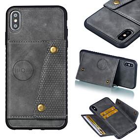 billige CaseMe®-caseme taske til iphone xr xs xs max kortholder / stødfast solid farvet hårdt pu læder til iphone x 8 8 plus 7 7plus 6s 6s plus se 5 5s
