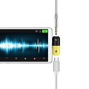 billige Lydkabel-Type-C محول <1m / 3ft 1 til 2 Plastikker USB-kabeladapter Til Samsung / Huawei / LG