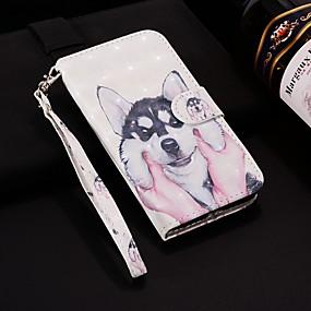voordelige Galaxy J5(2017) Hoesjes / covers-hoesje Voor Samsung Galaxy J8 (2018) / J7 (2017) / J7 (2018) Portemonnee / Kaarthouder / met standaard Volledig hoesje Hond Hard PU-nahka