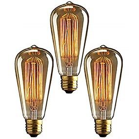 billige Glødelamper-3stk 40 W E26 / E27 ST64 Varm hvid 2200-2700 k Kontor / Business / Dæmpbar / Dekorativ Glødende Vintage Edison lyspære 220-240 V