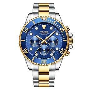 voordelige Merk Horloge-Tevise Heren mechanische horloges Japans Automatisch opwindmechanisme Roestvrij staal Zilver / Goud 30 m Waterbestendig Kalender s Nachts oplichtend Analoog Luxe Modieus - Groen Blauw