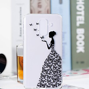 voordelige Galaxy S7 Edge Hoesjes / covers-hoesje Voor Samsung Galaxy S9 / S9 Plus / S8 Plus Transparant / Patroon Achterkant Vlinder / Sexy dame Zacht TPU