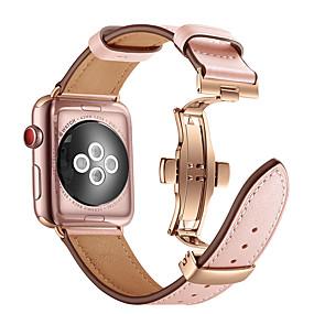 billige Mobiltelefonstilbehør-Urrem for Apple Watch Series 4/3/2/1 Apple Sommerfugle Spænde Ægte læder Håndledsrem