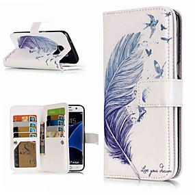 voordelige Galaxy S7 Edge Hoesjes / covers-hoesje Voor Samsung Galaxy S9 / S9 Plus / S8 Plus Portemonnee / Kaarthouder / met standaard Volledig hoesje Veren Hard PU-nahka