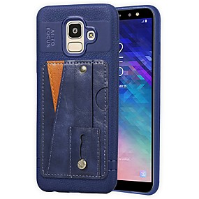 voordelige Galaxy J3(2017) Hoesjes / covers-hoesje Voor Samsung Galaxy J6 (2018) / J5 (2017) / J4 (2018) Kaarthouder / met standaard / Mat Achterkant Effen Hard PU-nahka