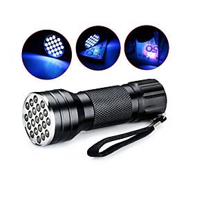 olcso Zseblámpák-D12UV-1-0-2 LED zseblámpák UV fényes elemlámpák Kézi elemlámpák LED 5 mm lámpa 21 Sugárzók 1 világítás mód Vízálló Az ultraibolya fény Kempingezés / Túrázás / Barlangászat Mindennapokra Vadászat Kék