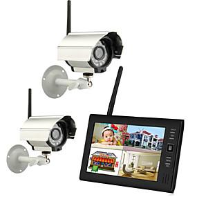 """abordables Seguridad-nuevo 4 canales inalámbricos quad dvr 2 cámaras con sistema de seguridad monitor de 7 """"TFT-LCD"""