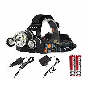 ieftine Accesorii Sport & Exterior-Frontale LED Cree® XM-L T6 emițători 6000 lm 1 Mod Zbor cu Baterii și Încărcătoare Zoomable Rezistent la apă Reîncărcabil Camping / Cățărare / Speologie Utilizare Zilnică Scufundare / Canotaj Negru