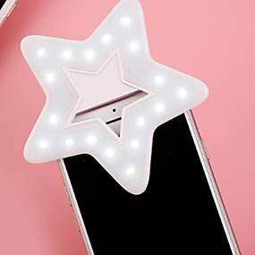 cheap Novelty Lighting-Star Heart clip on camera flash Fill Light Novelty LED LED Mini Portable Beauty New iPad Smart Phone Recharge Flash Light